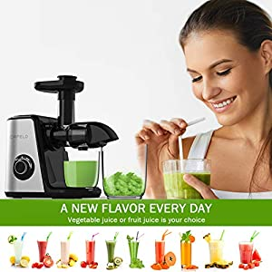 ORFELD Juicer Machines Vegetable and Fruit, Slow Masticating Juicer Extractor Easy to Clean, BPA-Free, Quiet motor and… |