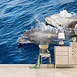 Papel Pintado Pared 450X350cm Dos Delfines Murales Personalizados Papel Tapiz 3D Minimalista Moderno Foto Pintura Mural Sala De Estar Niños Dormitorio