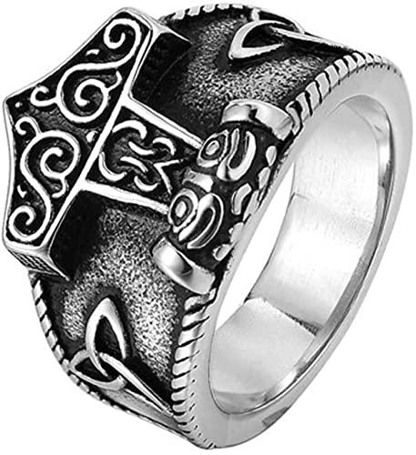 WWWXD Regalo Celtico di Gioielli in Acciaio Inox Anello a Martello di Thor (Color : Silver, Size : 14)