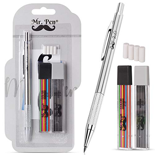 Mr. Pen- Mechanical Pencil 2mm, 1 Metal Mechanical Pencil with 2 Pack of Lead and Eraser, Drafting Pencil, Drawing Pencil, Thick Mechanical Pencil, 2.0mm Pencils, Artist Mechanical Pencils, 2mm Pencil