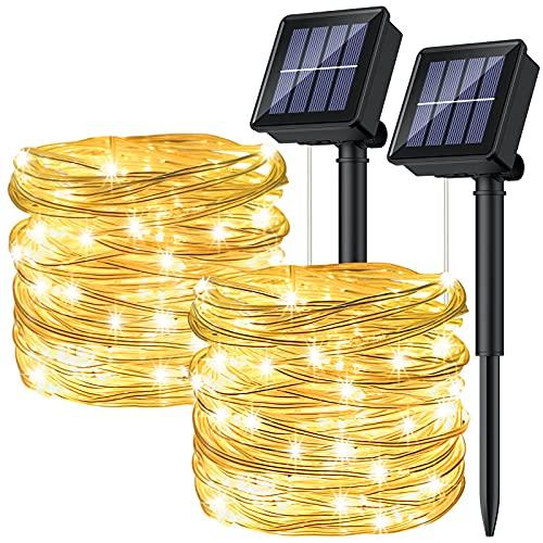 [2P]Ruyilam Guirnaldas Luces Exterior Solar, 12M 120 LED Guirnaldas Luminosas Decoración, Cadena de Luces Decorativas Impermeables Para Exterior Jardín Patio Árbol Fiestas Navidad Halloween