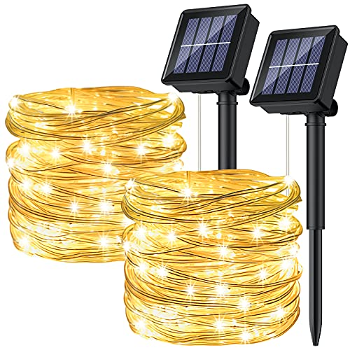 [2P]Ruyilam Guirnaldas Luces Exterior Solar, 12M 120 LED Guirnaldas Luminosas Decoración, Cadena de Luces Decorativas Impermeables Para Exterior Jardín Terraza Patio Balcón Bodas Árbol Fiestas Navidad