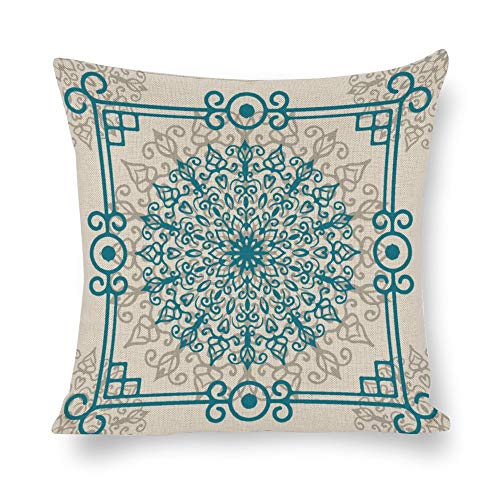 N/ A retro bohemio patrón floral funda de almohada decorativa vintage verde azulado borde lunares gris lino funda de cojín cuadrado para sofá lp9h28nvhyug, Lino, Como se muestra en la imagen, 16 x 16'/40,6 x 40,6 cm