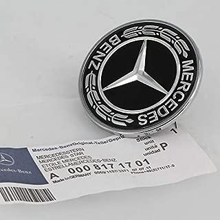 Diniwei Black Star Flat Hood Bonnet Emblem Badge Logo 57mm for Mercedes Benz C E SL Class