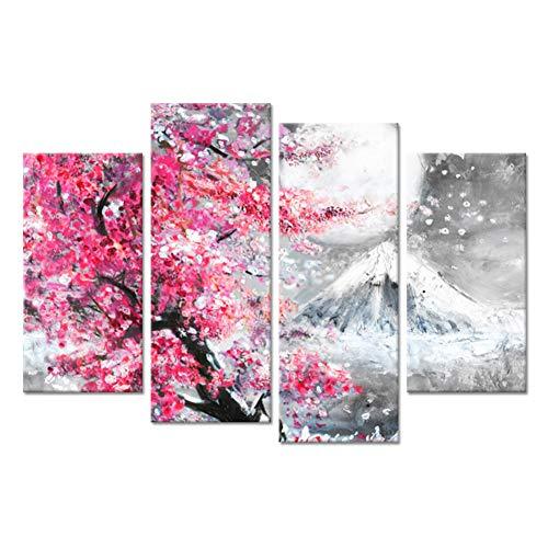 WOKCL Cuadro en Lienzo Decoración para el hogar Pintura Impresión en Lienzo 4 Unids Pico del Monte Fuji con Rosa Cereza Sakura Blossom Poster Moderno Arte de la Pared Dormitorio