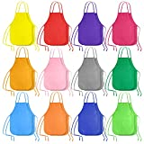 KUUQA 24 Pack 12 Colors Kids Art Aprons Children Painting Aprons Art Smocks for Craft, Kitchen, Classroom
