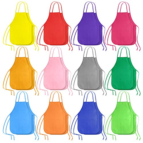 KUUQA 24 Pack 12 Colors Kids Art Aprons for Ages 3 to 7 Years,Children Painting Aprons Art Smocks for Craft, Kitchen, Classroom