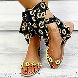 Sandalias Planas Verano Mujer Estilo Bohemio Plano Sandalias con strass Elegantes Flip Flop Playa Moda Chanclas Talla 35-43,Amarillo,38