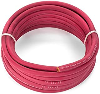 EWCS 2 Gauge Premium Extra Flexible Welding Cable 600 Volt - Red - 25 Feet - Made in the USA