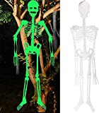 1Pcs 3 Feet Halloween Party Large Skeletons Decorations, Glow in The Dark Outdoor Decor Clearance Posable Hanging Life Size Plastic Supplies Skelton Door Props Ornaments Indoor