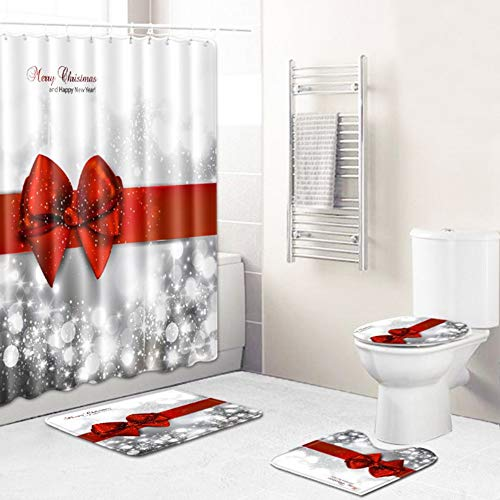 yadamse 4Pcs Merry Christmas Shower Curtain Sets,Christmas Bathroom Decoration Waterproof Bath Curtain with 12 Hooks,Base Mat,Toilet Mat,Floor Mat, Holiday Bathroom Decoration Set (Style 12)
