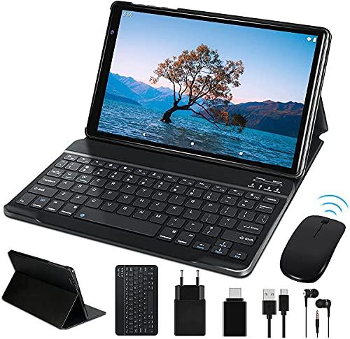 Tablet 10 Pulgadas HD FACETEL Android 10 Pro Tablets Octa-Core 1.6 GHz 4GB + 64GB (TF 128GB), Tableta con Teclado y Mouse | Cámara Dual | Bluetooth 4.0 | Hotspot Móvil | WiFi - Gris