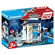 Enter the colourful world of PLAYMOBIL: Starter Pack Police with age-appropriate accessories and building parts for detailed re-enactments 1 policeman, 1 thief, 1 small police building with shelf, accessible door and break-out wall piece, etc., Can b...