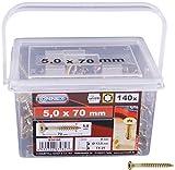 CONNEX B30195 - Secchio per viti Uni-Screws, 5,0 x 70 TX, 160 pezzi, 5,0 x 70 mm