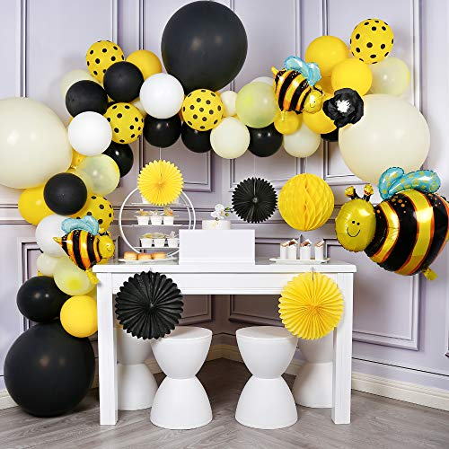 PartyWoo Bee Balloon Garland Kit, 73 pcs Bumble Bee Balloons, Bee Backdrop, Bee Foil Balloons, Paper Fans, Honeycomb, Black Yellow Balloons for What Will It Bee Gender Reveal, Bee Party Decorations