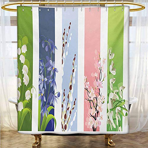 Flower Waterproof Bathtub Curtain 48x72 INCH Spring Flowers on Different Backgrounds Lily Blossoms Valley Primrose Floral Print Fabric Shower Curtain Multicolor
