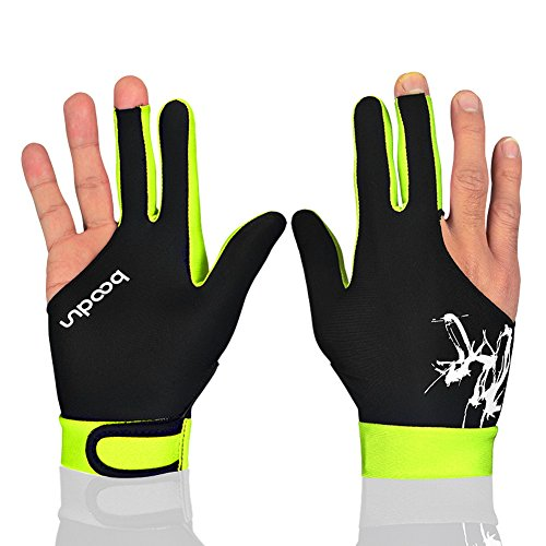 Anser M050912 Man Woman Elastic Lycra 3 Fingers Show Gloves for Billiard Shooters Carom Pool Snooker Cue Sport - Wear on The Right or Left Hand 1PCS (Light Green, M)