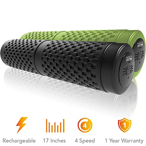 American Lifetime Vibrating Foam Roller - 17 Inch 4-Speed Rechargeable Electric High-Intensity Vibration, Deep Tissue Massager for Recovery, Pliability Training, Physical Therapy - 1 Year Warranty