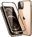 Funda iPhone 12 Pro MAX Adsorption Magnetica Carcasa,Protección de 360 Grados,El Vidrio Templado Transparente Delantero y Trasero Protege la Carcasa de Metal a Prueba de Golpes,Dorado