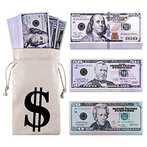 TAOPE Prop Money, 140 PCS Fake Money That Looks Real, Play Money in Canvas Money Bag Pouch, Movie Prop Money 100 Dollar Bills Realistic Actual Size