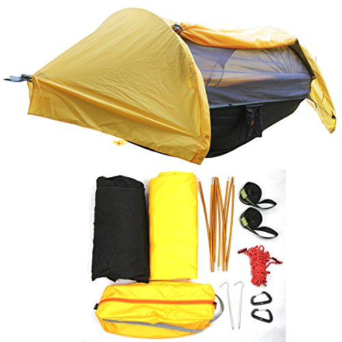 HongXingHai 3 in 1 Hammock with Mosquito Net and Rain Fly Outdoor Hammocks Tents for Camping Backpacking Hiking (Orange, L)