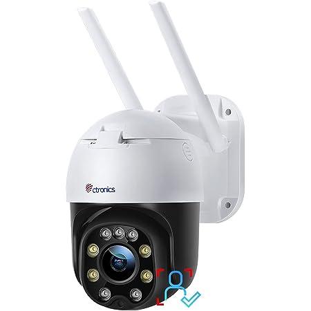 【 2021最新夜間カラー撮影・センサーライト付き 】 Ctronics 防犯カメラ 屋外 ヒュマン検知 自動追尾 監視カメラ wifi パンチルト 音声通話 常時録画 FULL HD1080P スマート暗視撮影 動体検知 遠隔操作 MircoSDカード対応 IP66防水防塵 日本語アプリ・マニュアル iOS,Android,Windows対応 二年間品質保証