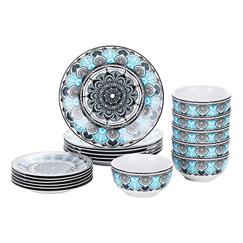 VEWEET Dinnerware Set Porcelain Plates and Bowls Kitchen Set Dinner Plate, Soup Plate (18 Set, AVIVA...