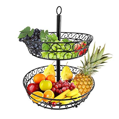 CatcherMy Obstkorb Obstschale Früchtekorb Metall Obst Etagere Lagerung Abtropfen lassen Korb Täglicher Küche dekoschale - 2 Stöckig, Schwarz