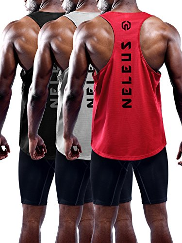 Neleus Men's 3 Pack Dry Fit Athletic Sleeveless Muscle Tank,5031,Black,Grey,Red,L,EU XL