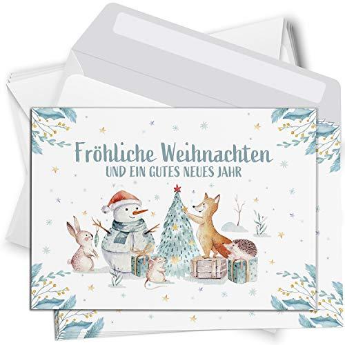 15 Weihnachtskarten Set mit Umschlag Grußkarten Weihnachten Postkarten Format Weihnachtspostkarte Waldtiere Aquarell