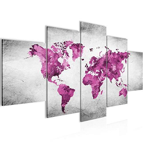 Runa Art - Quadri Mappa Del Mondo 200 x 100 cm 5 Pezzi XXL Decorazione Murale Design Rosa Grigio 013351c