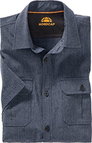 Nordcap Funktionshemd Kurzarm in Blau, meliertes Freizeithemd für Herren, atmungsaktives Kurzarm-Hemd, knitterresistent, Gr. 39 – 46, Menge: 1 Stück
