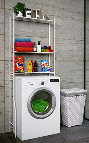 *VCM Waschmaschinenschrank Badschrank Hochschrank Badregal Überbau Schrank Tubas Weiß*