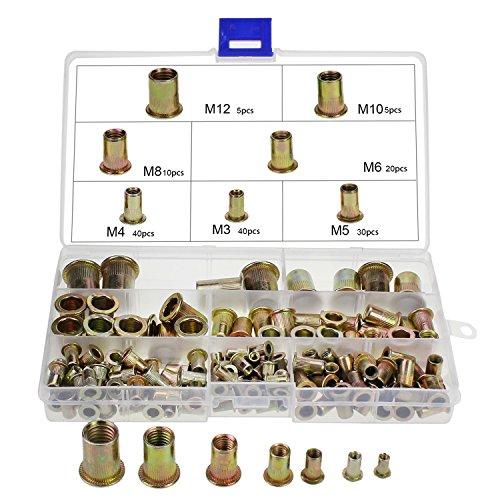 HSeaMall Assortimento di dadi filettati con testa piatta in acciaio al carbonio, misura M3, M4, M5, M6, M8, M10, M12, 150 pezzi