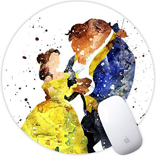 DISNEY COLLECTION Beauty and The Beast Square Round Computer Gaming Mouse Pad Skidproof High Mouse Tracking for Office, Gaming, Home