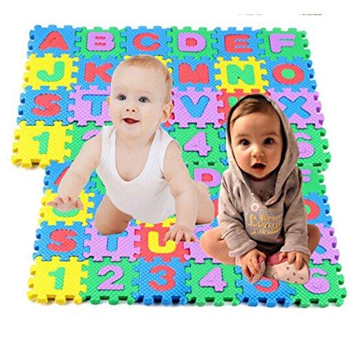 Feriay 36PCS/Set Baby Kids Mini Alphanumeric Educational Puzzle Foam Mats Blocks Toy