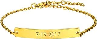 Women Girls Customized ID Bracelet Stainless Steel/18K Gold Plated Dainty Link Engraving Name/ICE/Birthstone Identification Bar Bracelet Bangle