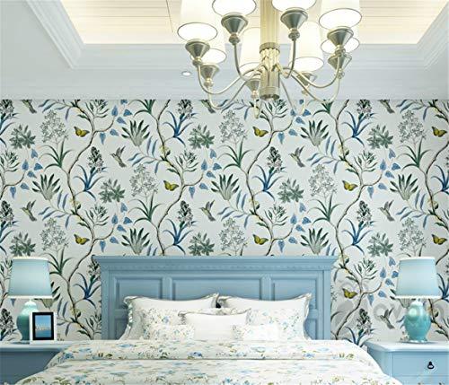 BAROZN Wandpapier Chinoiserie-Tapete Schlafzimmer Wandverkleidung Modern, Vintage rosa Blumentapete, Blau tropischer Schmetterling Vögel Blumen-Wand-Papier, Not selbstklebend