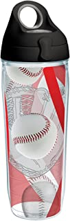Tervis 1231939 Baseballs Red & Mitt Background Tumbler with Wrap and Black with Gray Lid 24oz Water Bottle, Clear