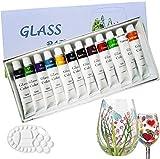 12 colori di vernici per vetro , vernice atossica di qualità professionale per vetro, set di vernice per vetro satinato multisuperficie, ricco pigmento , Impermeabile e non sbiadisce