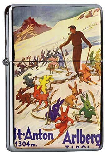 LEotiE SINCE 2004 Chrom Sturm Feuerzeug Benzinfeuerzeug aus Metall Aufladbar Winddicht für Küche Grill Zigaretten Kerzen Bedruckt Urlaub Reisebüro Tirol St. Anton