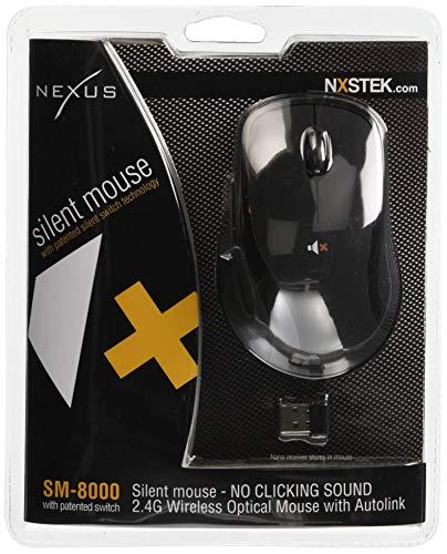 NEXUS Nexus [2.4G Wireless Optical Silent Click Mouse] the Noiseless Silent Mouse 5Buttons Black SM–8000b