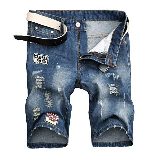 Pantalones Cortos de Mezclilla para Hombre Tendencia de Verano Pantalones Vaqueros Estampados con Personalidad Americana Pantalones Vaqueros Delgados de Pierna Recta Rasgados 34