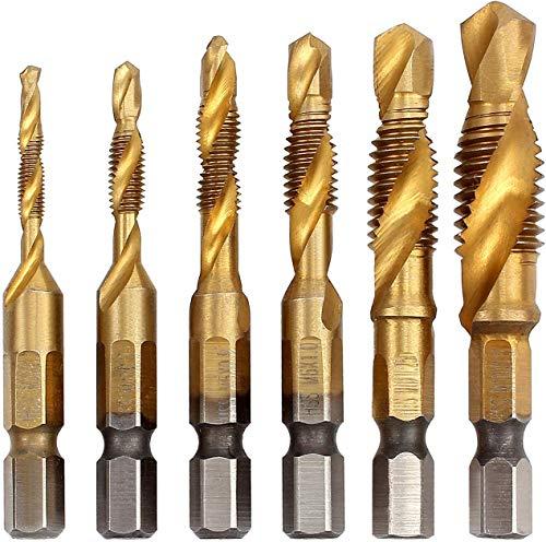 AMTOVL Hex Shank Drill Bits 6pcs Spiral Drill Bit HSS Combination Drill Tap Bit Hex Shank Countersink Tap Drill Bit Set Titanium Coated Countersink Bit