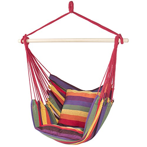 Best Choice Products Hammock Hanging Rope Chair Porch Swing Seat Patio Camping Portable - Red Stripe
