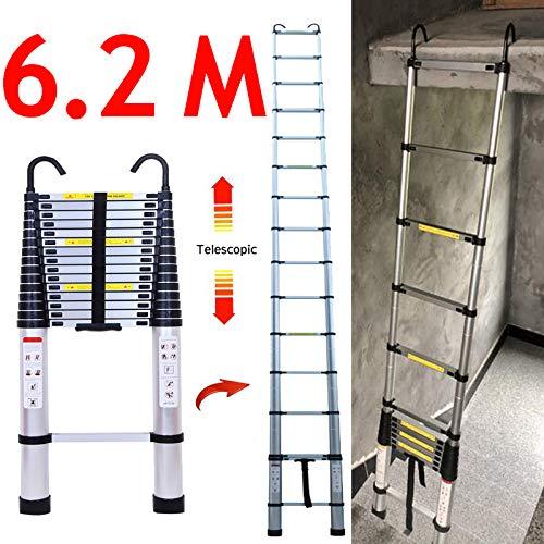 Escalera telescópica plegable para altillo con gancho desmontable, cierre suave, protección de los dedos, aluminio ligero, 150 kg máx.
