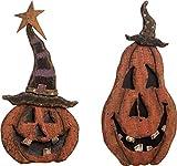 Transpac Imports, Inc. Jack-O-Lantern Pumpkin Rustic Orange 14 x 7 Plywood Halloween Figurines Set of 2