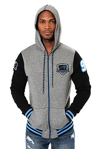 Ultra Game NFL Carolina Panthers Mens Full Zip Soft Fleece Hoodie Letterman Varsity Jacket, Team Color, Medium