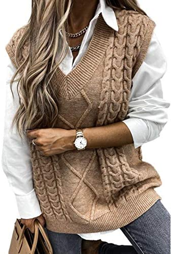 AlvaQ Women Sweater Vest Oversized Cable Knitted V Neck Loose Sleeveless Sweaters Tops