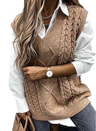 AlvaQ Sweater Vest for Women Ladies V Neck Cable Knit Sleeveless Sweater Pullover Knitted Jumper Tops Khaki Large